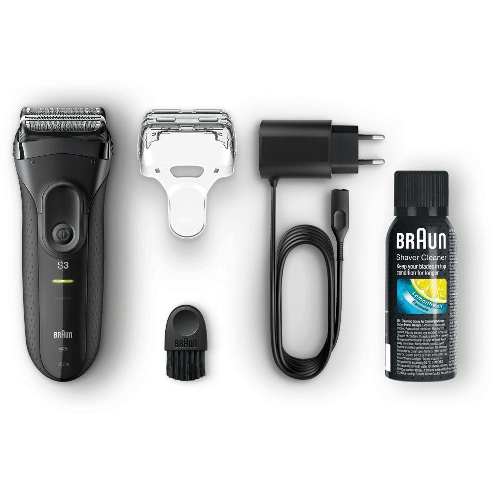 Rasoir électrique pour homme - Braun Series 3 3020S avec tondeuse rétractable + lotion nettoyante