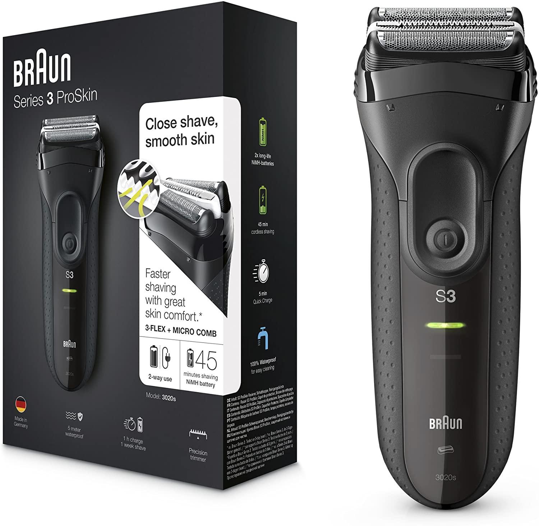 Rasoir électrique pour homme - Braun Series 3 3020S avec tondeuse rétractable