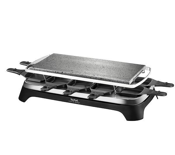 Appareil à raclette - Tefal Steengrill 10 Inox&Design 10 personne(s) Noir, Acier inoxydable 1350 W