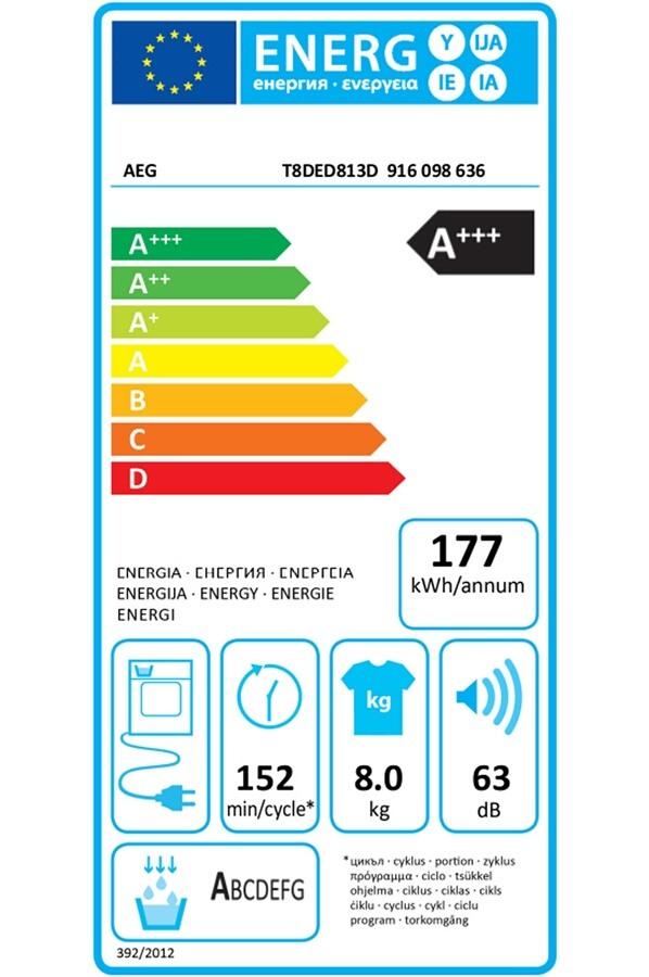 Sèche-linge pompe à chaleur - Aeg T8DED813D 3D SCAN