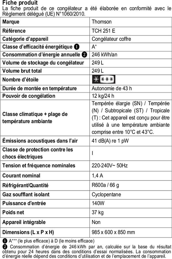 Congélateur coffre - Thomson TCH 251 E
