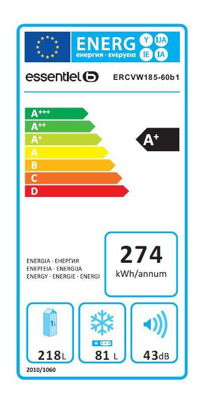 Réfrigérateurs congélateurs (combinés et 2 portes) - EssentielB ERCVW 185-60b1