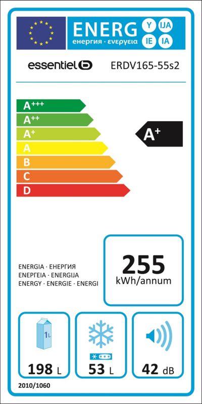 Réfrigérateurs congélateurs (combinés et 2 portes) - EssentielB ERDV165-55s2