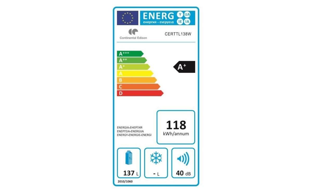 Réfrigérateur 1 porte - Continental Edison CERTTL138W