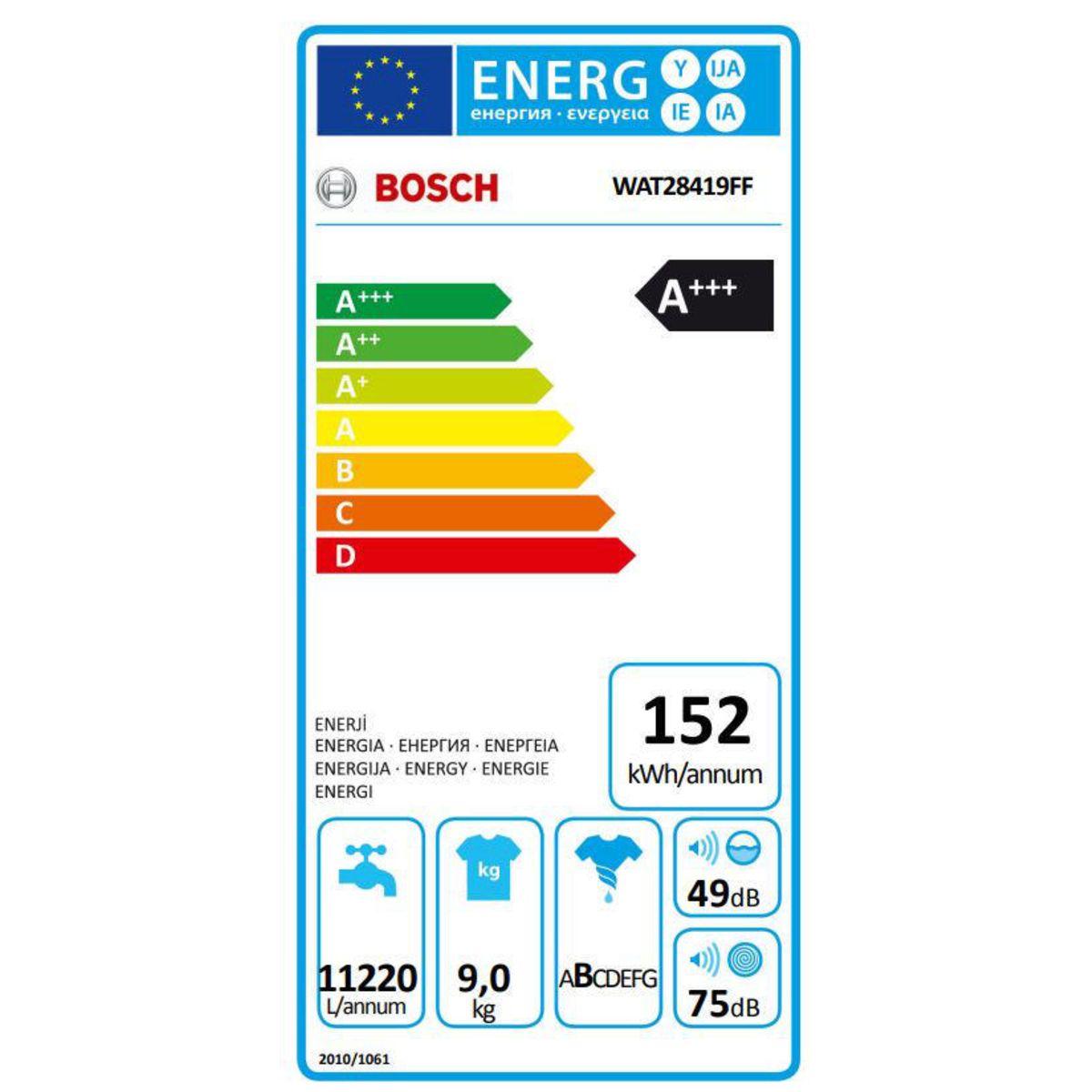 Lave-linge hublot - Bosch WAT28419FF