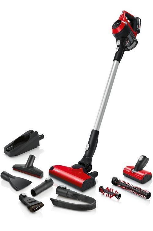 Aspirateur balai - Bosch Unlilmited série   6 ProAnimal - rechargeable sans fil, performant sur différents types de sol, rouge